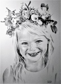 young girl with flower head-dress